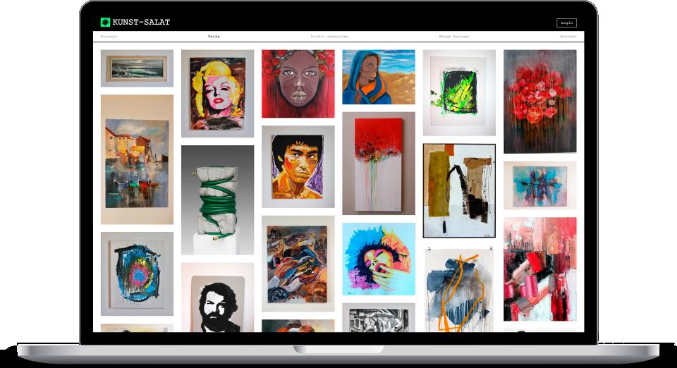 Laptop Mockup Kunst Salat Homepage
