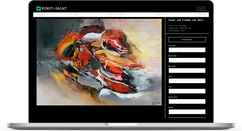 Laptop Mockup Kunst Salat Product Page