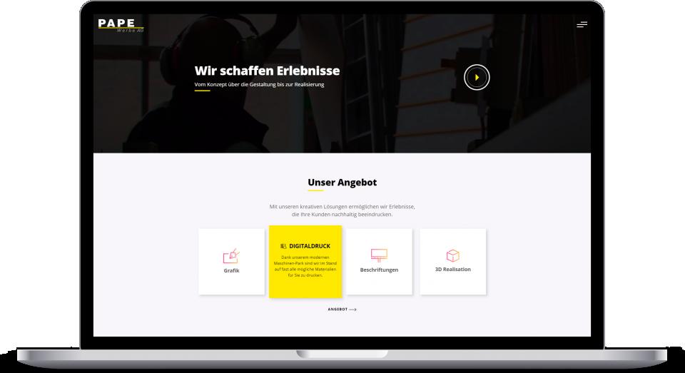 Laptop Mockup Pape Werbe Ag Homepage
